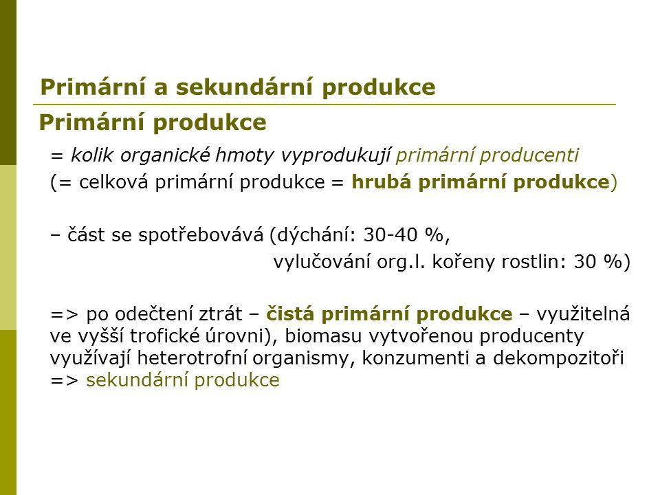 Primární produkce = kolik organické hmoty vyprodukují primární producenti (= celková primární produkce = hrubá primární produkce) – část se spotřebová