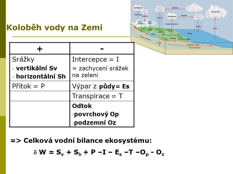 Koloběh vody na Zemi => Celková vodní bilance ekosystému:  W = S v + S h + P –I – E s –T –O p - O z +- Srážky - vertikální Sv - horizontální Sh Inter