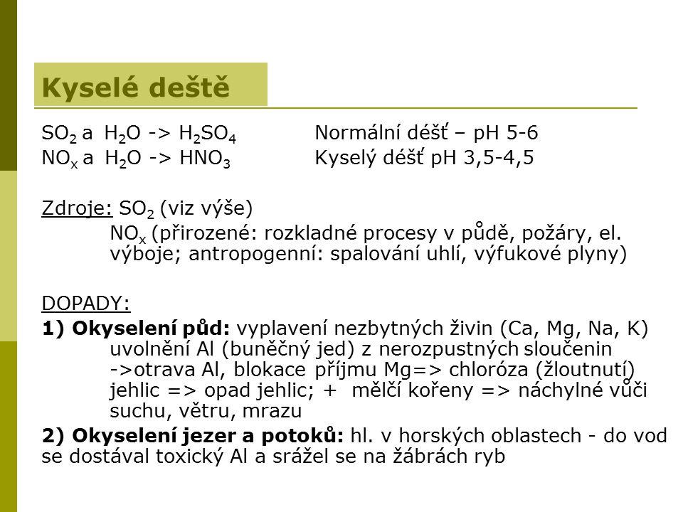 SO 2 a H 2 O -> H 2 SO 4 Normální déšť – pH 5-6 NO x a H 2 O -> HNO 3 Kyselý déšť pH 3,5-4,5 Zdroje: SO 2 (viz výše) NO x (přirozené: rozkladné proces