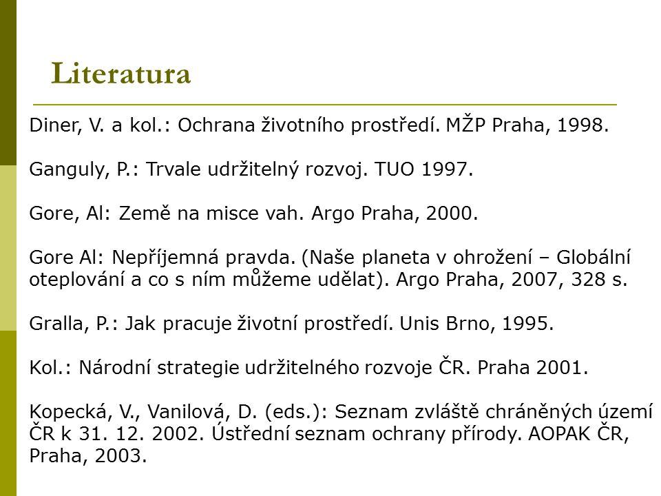 Literatura Diner, V. a kol.: Ochrana životního prostředí. MŽP Praha, 1998. Ganguly, P.: Trvale udržitelný rozvoj. TUO 1997. Gore, Al: Země na misce va
