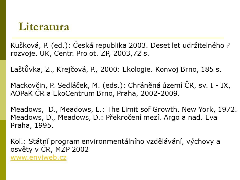 Literatura Kušková, P. (ed.): Česká republika 2003. Deset let udržitelného ? rozvoje. UK, Centr. Pro ot. ZP, 2003,72 s. Laštůvka, Z., Krejčová, P., 20