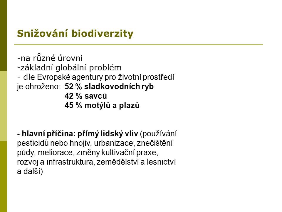 -na různé úrovni -základní globální problém - dle Evropské agentury pro životní prostředí je ohroženo: 52 % sladkovodních ryb 42 % savců 45 % motýlů a