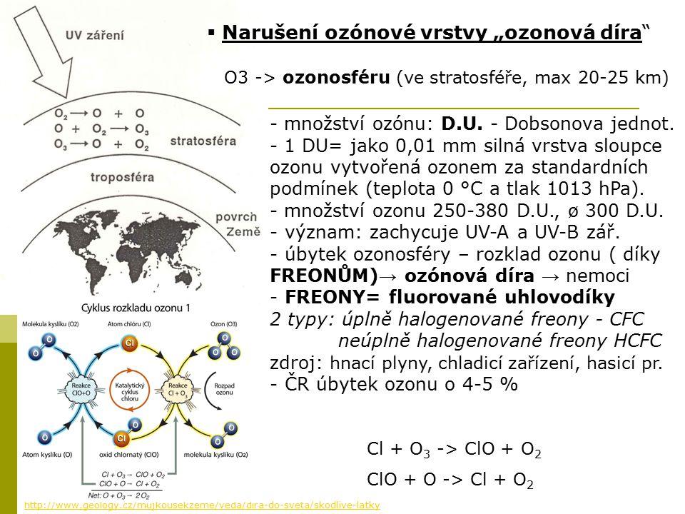 - množství ozónu: D.U. - Dobsonova jednot. - 1 DU= jako 0,01 mm silná vrstva sloupce ozonu vytvořená ozonem za standardních podmínek (teplota 0 °C a t