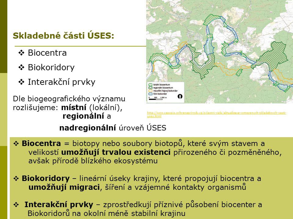 Dle biogeografického významu rozlišujeme: místní (lokální), regionální a  Biocentra = biotopy nebo soubory biotopů, které svým stavem a velikostí umo