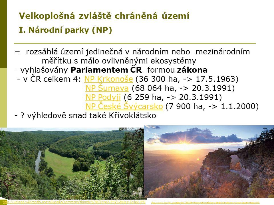 = rozsáhlá území jedinečná v národním nebo mezinárodním měřítku s málo ovlivněnými ekosystémy - vyhlašovány Parlamentem ČR formou zákona - v ČR celkem