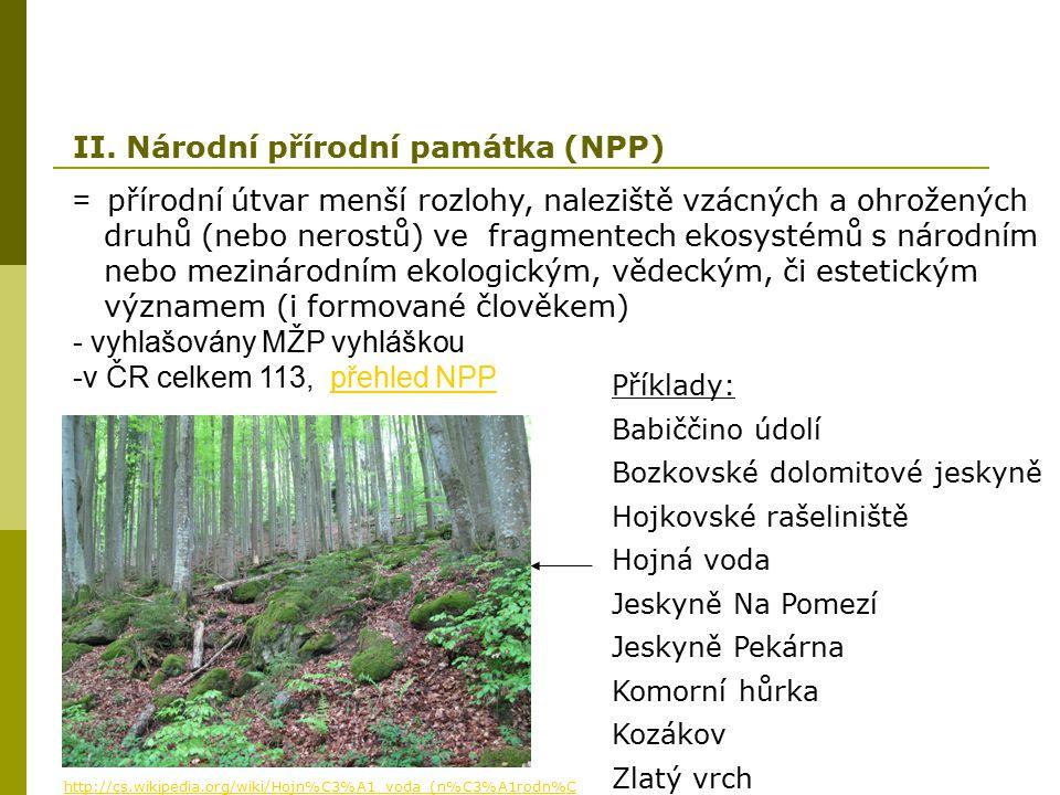 = přírodní útvar menší rozlohy, naleziště vzácných a ohrožených druhů (nebo nerostů) ve fragmentech ekosystémů s národním nebo mezinárodním ekologický