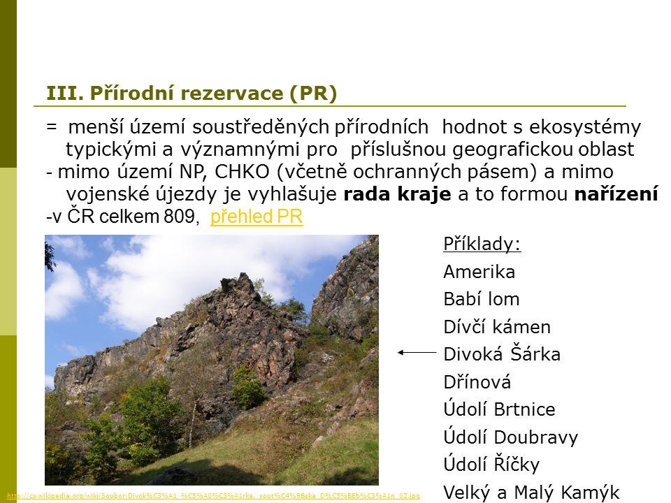 = menší území soustředěných přírodních hodnot s ekosystémy typickými a významnými pro příslušnou geografickou oblast - mimo území NP, CHKO (včetně och