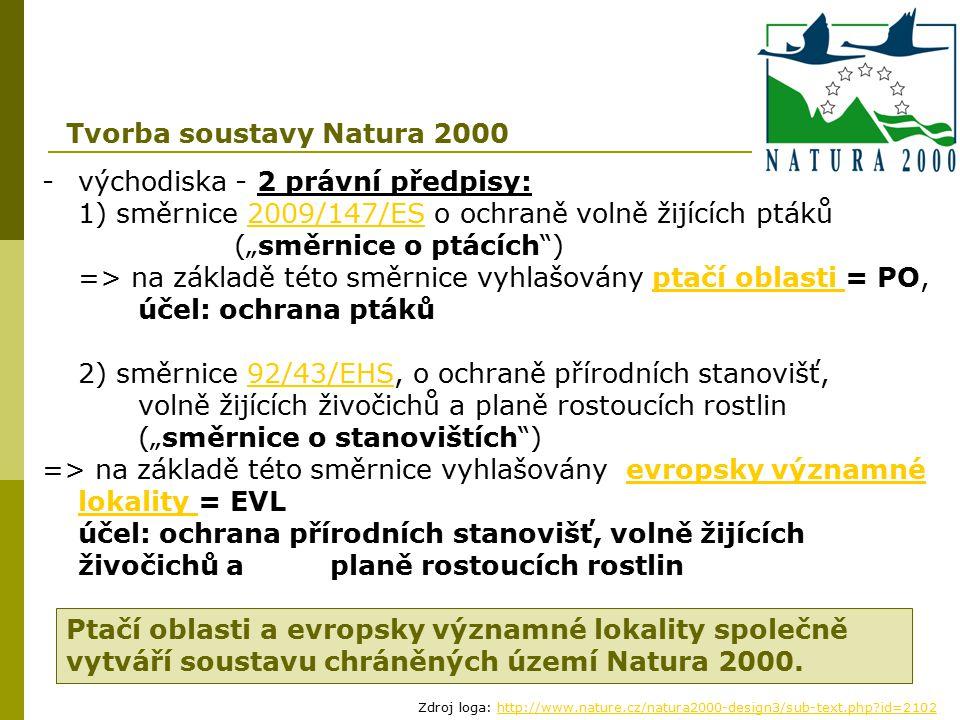 """-východiska - 2 právní předpisy: 1) směrnice 2009/147/ES o ochraně volně žijících ptáků (""""směrnice o ptácích"""") => na základě této směrnice vyhlašovány"""
