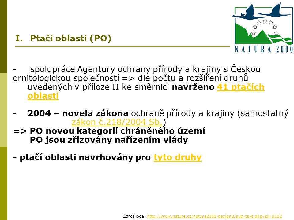 - spolupráce Agentury ochrany přírody a krajiny s Českou ornitologickou společností => dle počtu a rozšíření druhů uvedených v příloze II ke směrnici