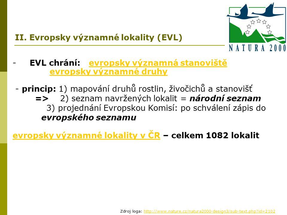- EVL chrání: evropsky významná stanovištěevropsky významná stanoviště evropsky významné druhy - princip: 1) mapování druhů rostlin, živočichů a stano