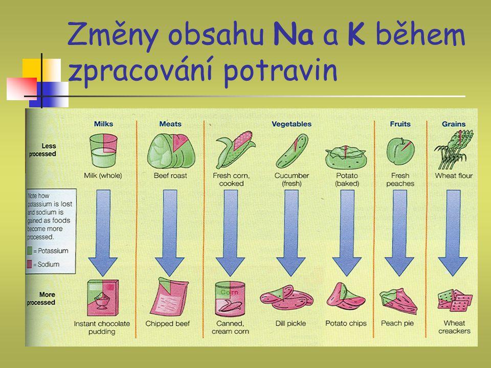 Změny obsahu Na a K během zpracování potravin