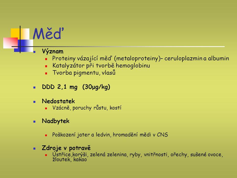 Měď Význam Proteiny vázající měď (metaloproteiny)– ceruloplazmin a albumin Katalyzátor při tvorbě hemoglobinu Tvorba pigmentu, vlasů DDD 2,1 mg (30μg/