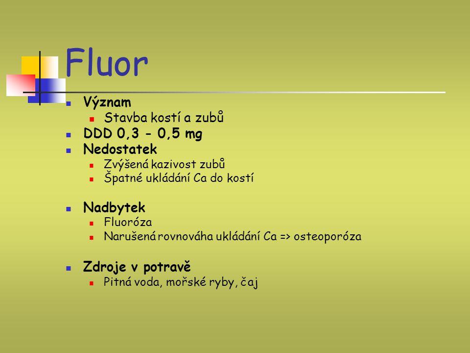 Fluor Význam Stavba kostí a zubů DDD 0,3 - 0,5 mg Nedostatek Zvýšená kazivost zubů Špatné ukládání Ca do kostí Nadbytek Fluoróza Narušená rovnováha uk