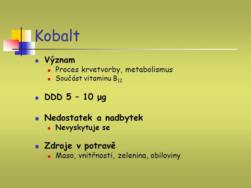 Kobalt Význam Proces krvetvorby, metabolismus Součást vitaminu B 12 DDD 5 – 10 μg Nedostatek a nadbytek Nevyskytuje se Zdroje v potravě Maso, vnitřnos