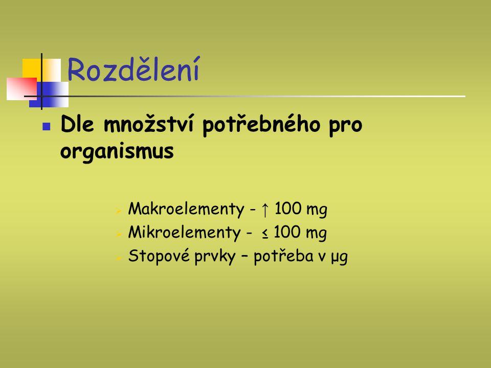 Rozdělení Dle množství potřebného pro organismus  Makroelementy - ↑ 100 mg  Mikroelementy - ≤ 100 mg  Stopové prvky – potřeba v μg
