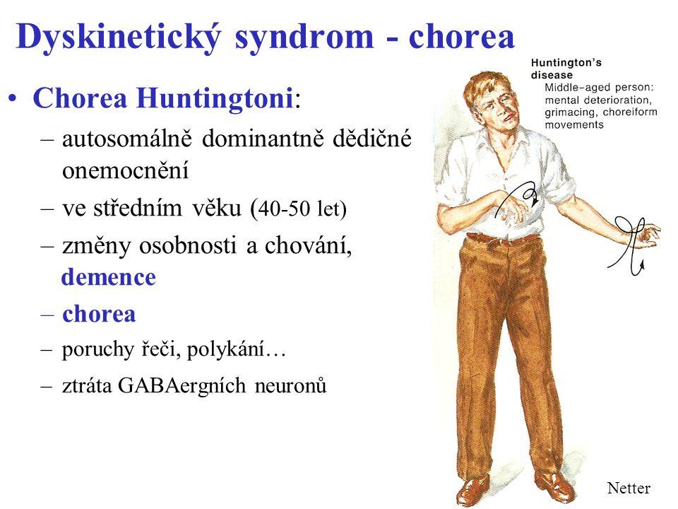 Dyskinetický syndrom - chorea Chorea Huntingtoni: –autosomálně dominantně dědičné onemocnění –ve středním věku ( 40-50 let) –změny osobnosti a chování