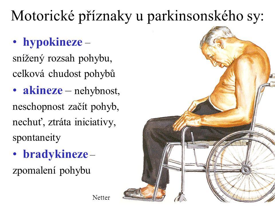 Motorické příznaky u parkinsonského sy: hypokineze – snížený rozsah pohybu, celková chudost pohybů akineze – nehybnost, neschopnost začít pohyb, nechu