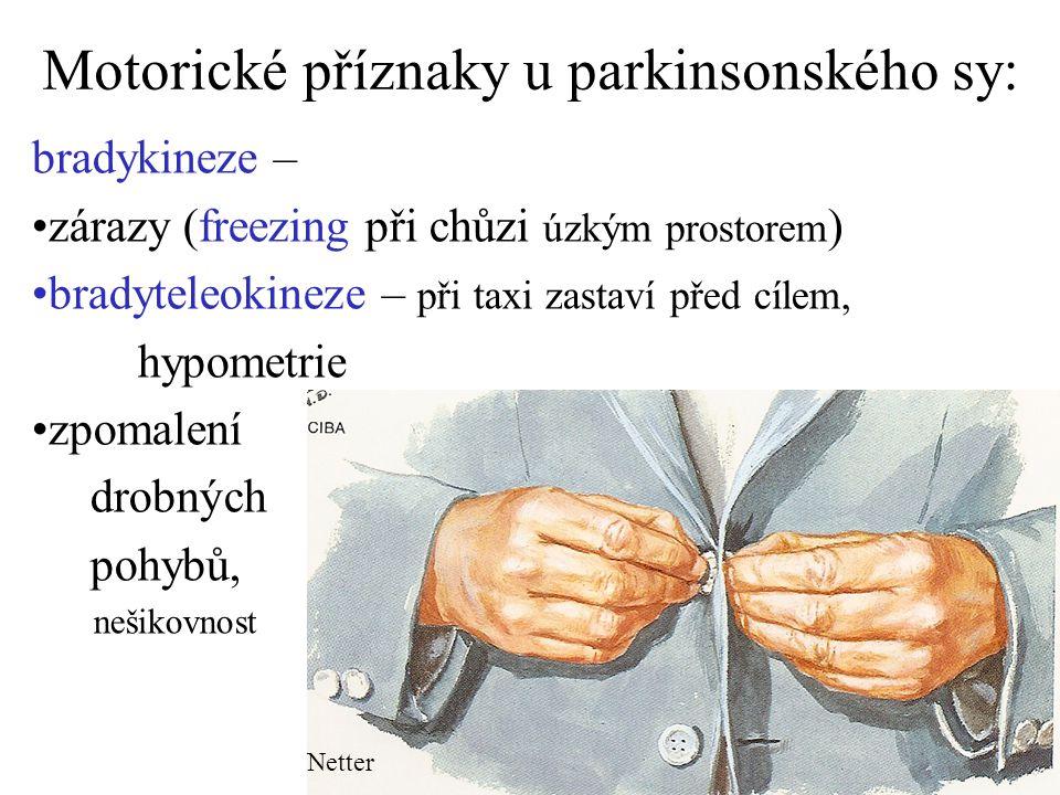 Motorické příznaky u parkinsonského sy: bradykineze – zárazy (freezing při chůzi úzkým prostorem ) bradyteleokineze – při taxi zastaví před cílem, hyp