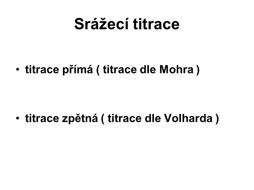 Srážecí titrace titrace přímá ( titrace dle Mohra ) titrace zpětná ( titrace dle Volharda )