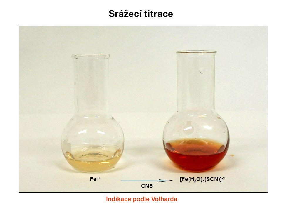 [Fe(H 2 O) 5 (SCN)] 2+ Fe 3+ CNS - Srážecí titrace Indikace podle Volharda