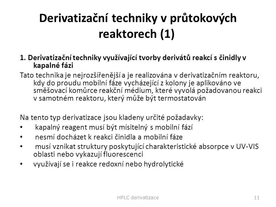 Derivatizační techniky v průtokových reaktorech (1) 1. Derivatizační techniky využívající tvorby derivátů reakcí s činidly v kapalné fázi Tato technik