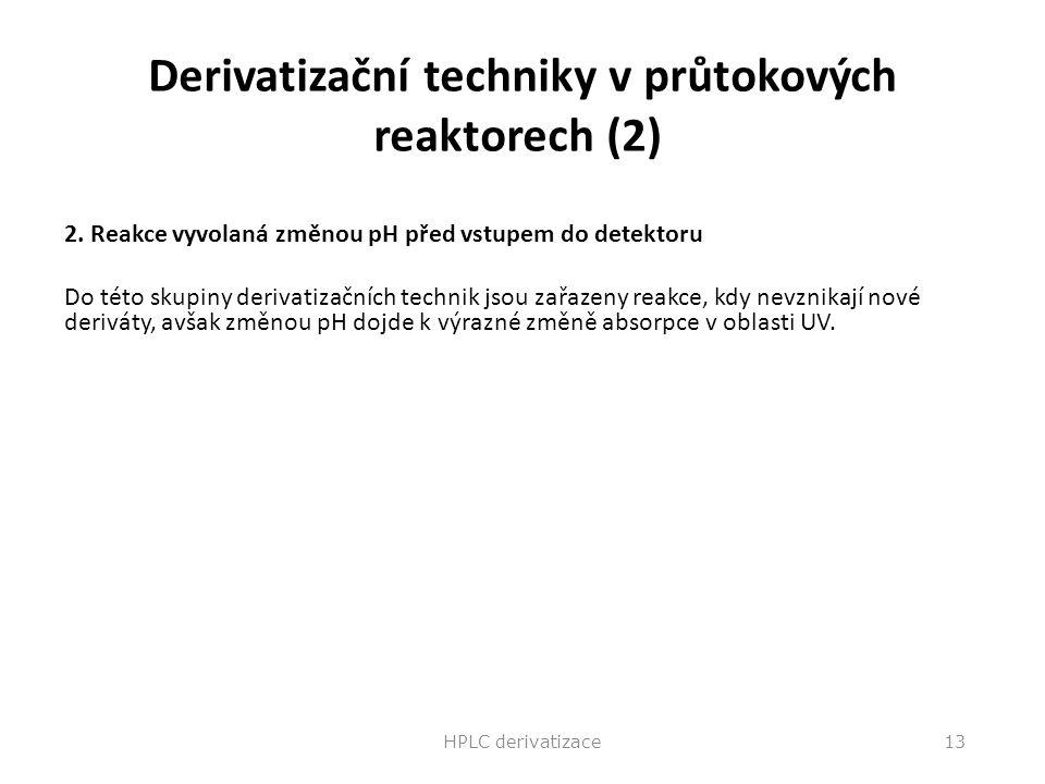 Derivatizační techniky v průtokových reaktorech (2) 2. Reakce vyvolaná změnou pH před vstupem do detektoru Do této skupiny derivatizačních technik jso