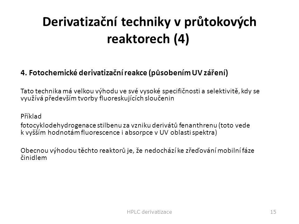 Derivatizační techniky v průtokových reaktorech (4) 4. Fotochemické derivatizační reakce (působením UV záření) Tato technika má velkou výhodu ve své v