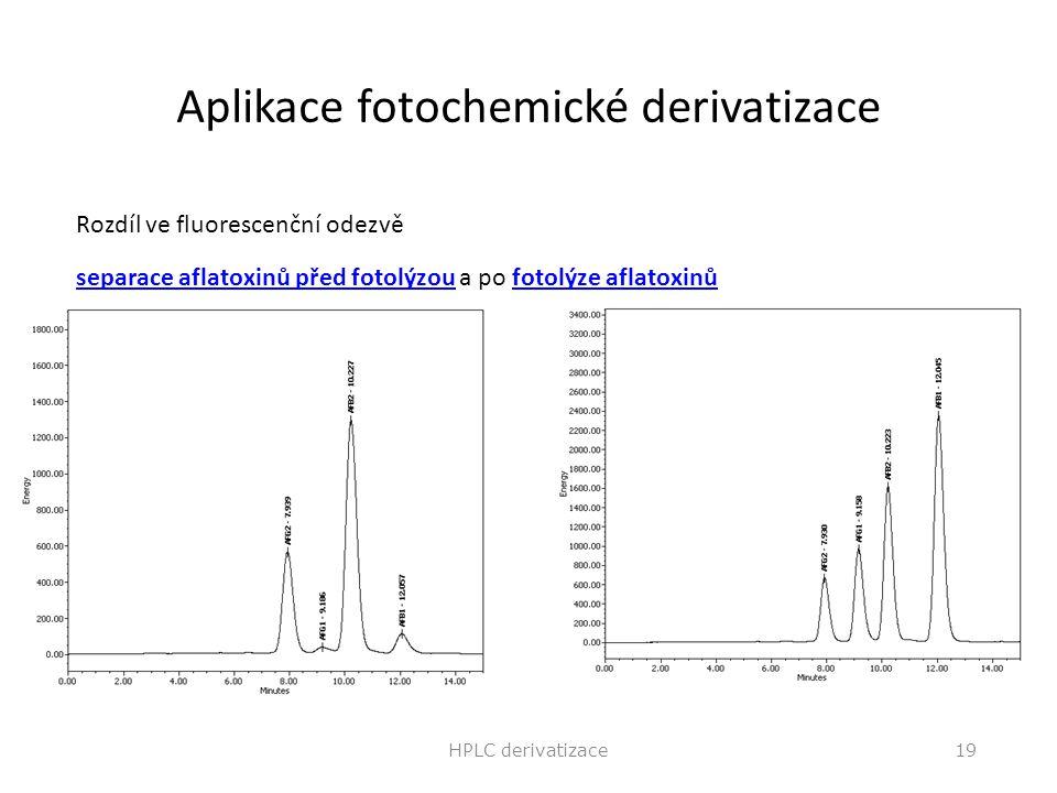 Aplikace fotochemické derivatizace Rozdíl ve fluorescenční odezvě separace aflatoxinů před fotolýzouseparace aflatoxinů před fotolýzou a po fotolýze a