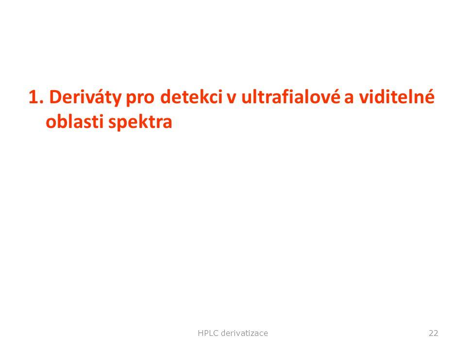 1. Deriváty pro detekci v ultrafialové a viditelné oblasti spektra HPLC derivatizace22