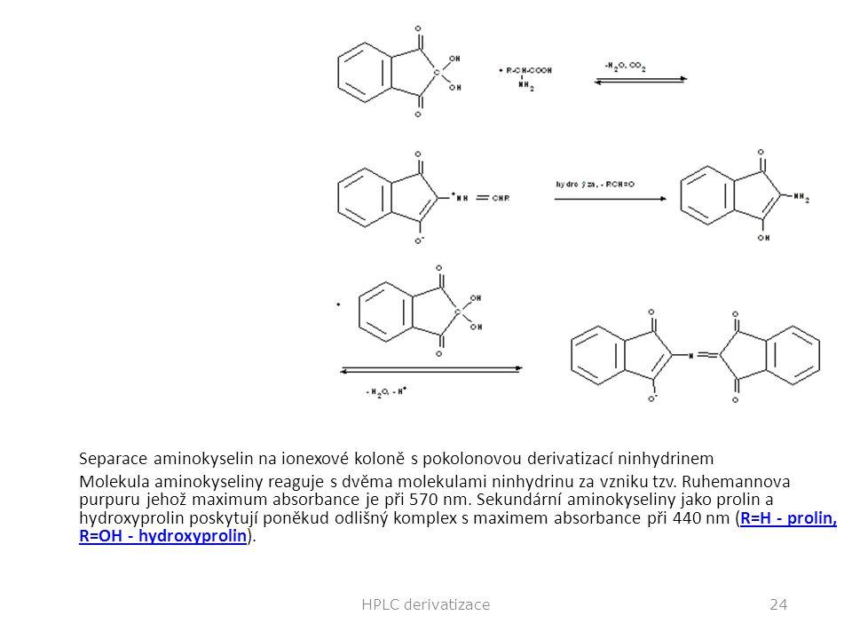 Ninhydrin Separace aminokyselin na ionexové koloně s pokolonovou derivatizací ninhydrinem Molekula aminokyseliny reaguje s dvěma molekulami ninhydrinu