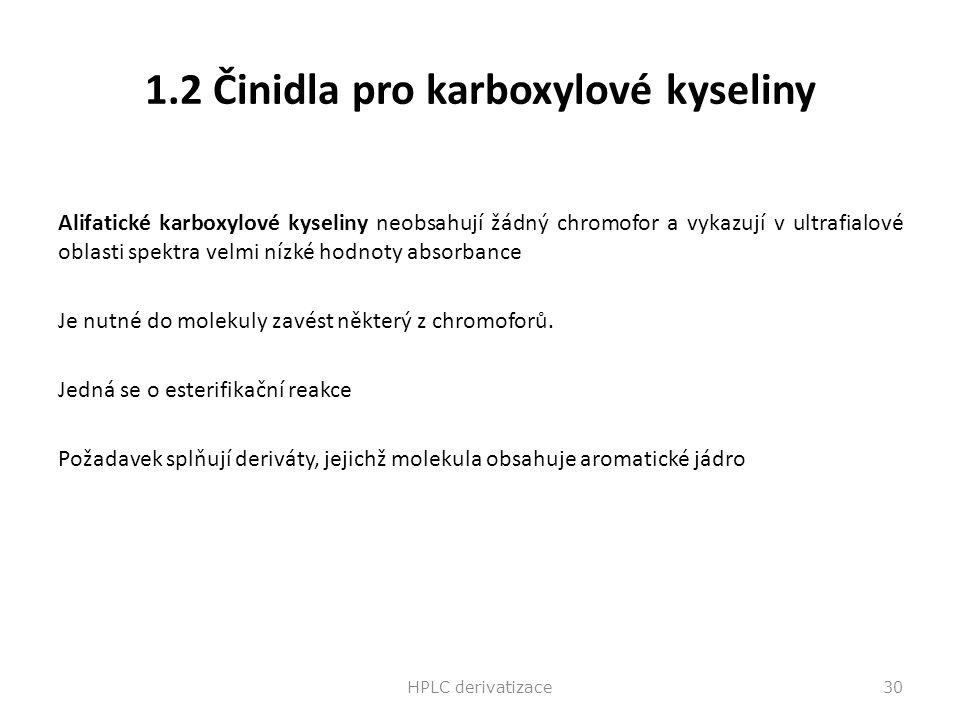 1.2 Činidla pro karboxylové kyseliny Alifatické karboxylové kyseliny neobsahují žádný chromofor a vykazují v ultrafialové oblasti spektra velmi nízké