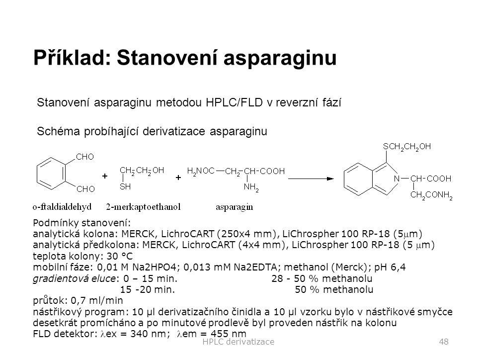 HPLC derivatizace48 Stanovení asparaginu metodou HPLC/FLD v reverzní fází Schéma probíhající derivatizace asparaginu Příklad: Stanovení asparaginu Pod