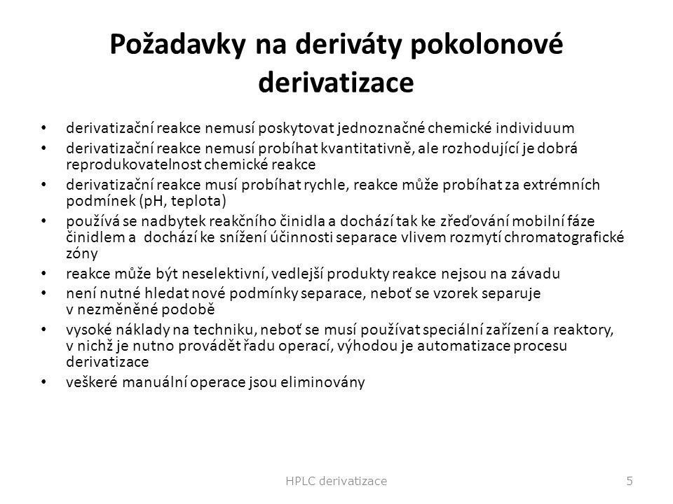Požadavky na deriváty pokolonové derivatizace derivatizační reakce nemusí poskytovat jednoznačné chemické individuum derivatizační reakce nemusí probí