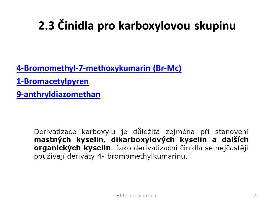 2.3 Činidla pro karboxylovou skupinu 4-Bromomethyl-7-methoxykumarin (Br-Mc) 1-Bromacetylpyren 9-anthryldiazomethan HPLC derivatizace55 Derivatizace ka