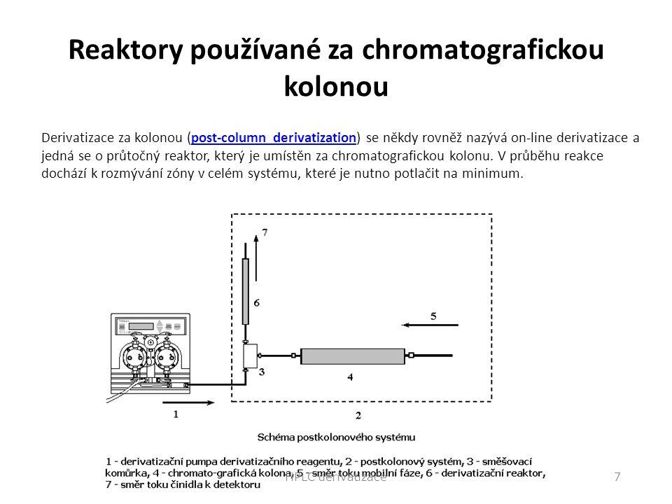 Reaktory používané za chromatografickou kolonou Derivatizace za kolonou (post-column derivatization) se někdy rovněž nazývá on-line derivatizace a jed
