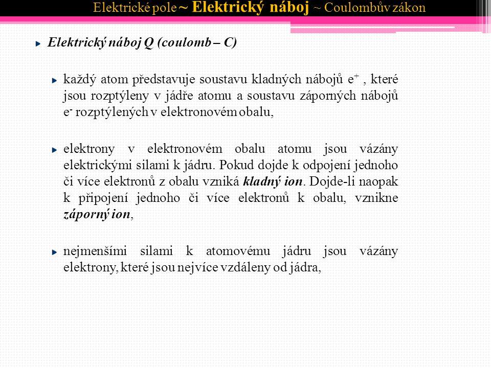 Elektrický náboj Q (coulomb – C) při těsném styku dvou těles dochází k přemísťování elektronů z tělesa na těleso.
