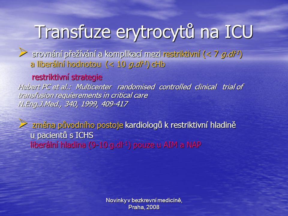 Novinky v bezkrevní medicíně, Praha, 2008 Transfuze erytrocytů na ICU  srovnání přežívání a komplikací mezi restriktivní (< 7 g.dl -1 ) a liberální hodnotou (< 10 g.dl -1 ) cHb a liberální hodnotou (< 10 g.dl -1 ) cHb restriktivní strategie restriktivní strategie Hebert PC et al.: Multicenter randomised controlled clinical trial of transfusion requierements in critical care N.Eng.J.Med., 340, 1999, 409-417  změna původního postoje kardiologů k restriktivní hladině u pacientů s ICHS u pacientů s ICHS liberální hladina (9-10 g.dl -1 ) pouze u AIM a NAP liberální hladina (9-10 g.dl -1 ) pouze u AIM a NAP