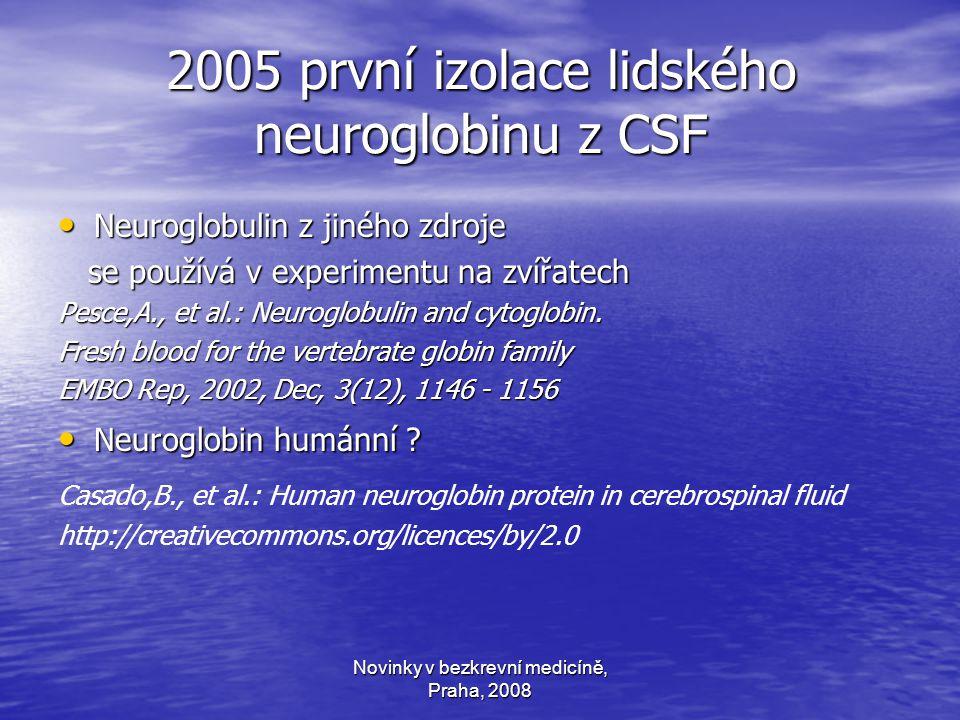 Novinky v bezkrevní medicíně, Praha, 2008 2005 první izolace lidského neuroglobinu z CSF Neuroglobulin z jiného zdroje Neuroglobulin z jiného zdroje se používá v experimentu na zvířatech se používá v experimentu na zvířatech Pesce,A., et al.: Neuroglobulin and cytoglobin.