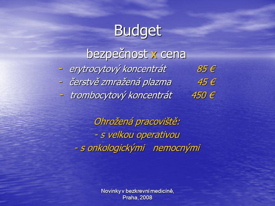 Novinky v bezkrevní medicíně, Praha, 2008 Budget bezpečnost x cena - erytrocytový koncentrát 85 € - čerstvě zmražená plazma 45 € - trombocytový koncentrát 450 € Ohrožená pracoviště: - s velkou operativou - s onkologickými nemocnými