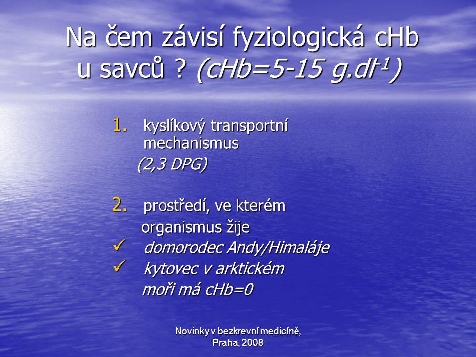 Novinky v bezkrevní medicíně, Praha, 2008 Na čem závisí fyziologická cHb u savců .