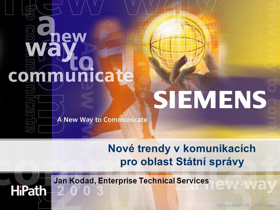 RNP:lss/pptSENbusdev072302 Nové trendy v komunikacích pro oblast Státní správy Jan Kodad, Enterprise Technical Services