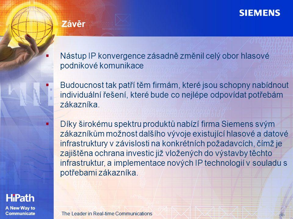 The Leader in Real-time Communications 19 The Leader in Real-time Communications 19 A New Way to Communicate Závěr  Nástup IP konvergence zásadně změ