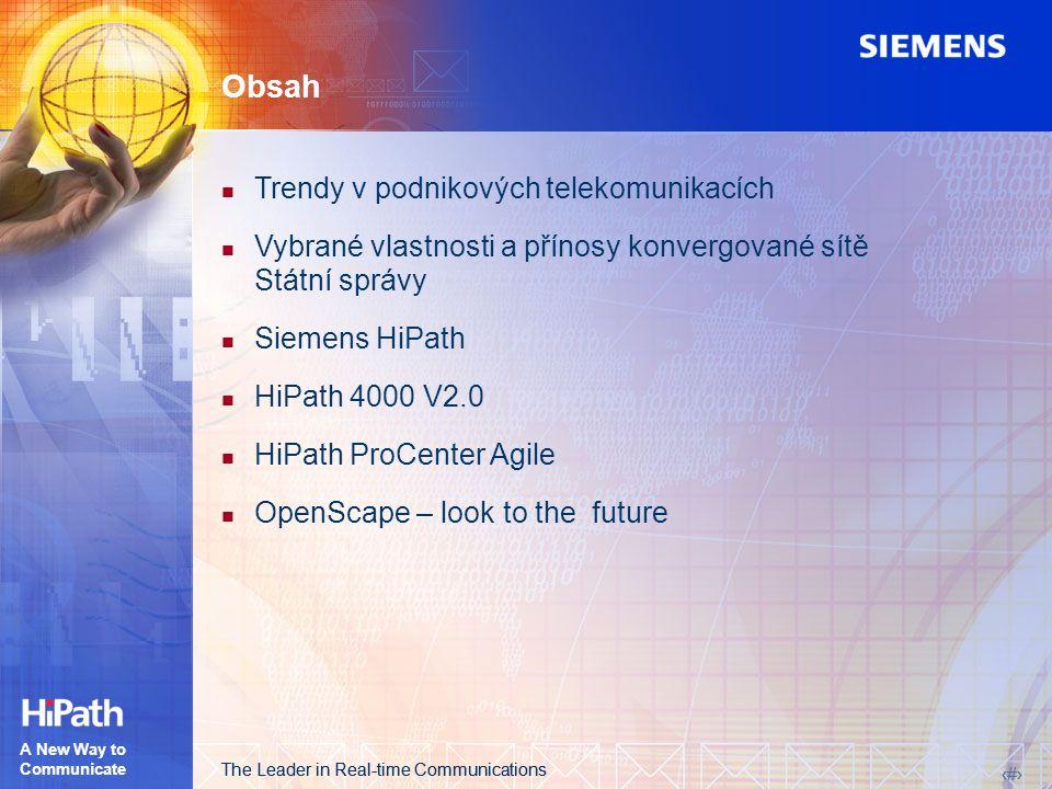 The Leader in Real-time Communications 2 2 A New Way to Communicate Obsah Trendy v podnikových telekomunikacích Vybrané vlastnosti a přínosy konvergované sítě Státní správy Siemens HiPath HiPath 4000 V2.0 HiPath ProCenter Agile OpenScape – look to the future