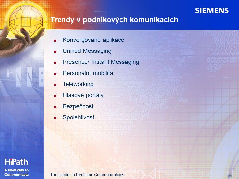 The Leader in Real-time Communications 4 4 A New Way to Communicate Trendy v podnikových komunikacích Konvergované aplikace Unified Messaging Presence/ Instant Messaging Personální mobilita Teleworking Hlasové portály Bezpečnost Spolehlivost
