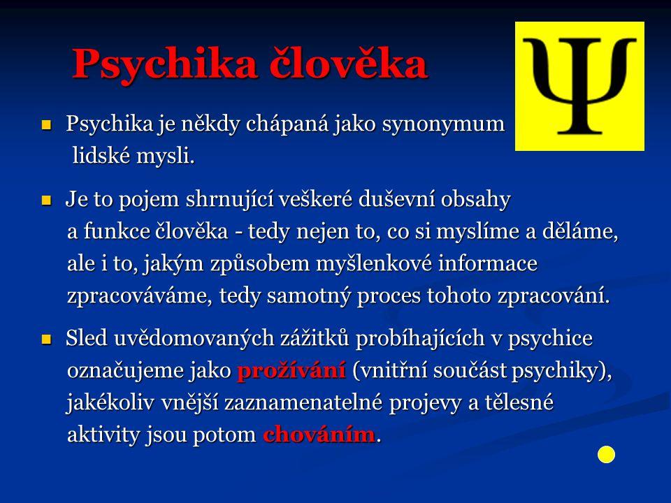 Psychika člověka Psychika člověka Psychika je někdy chápaná jako synonymum Psychika je někdy chápaná jako synonymum lidské mysli. lidské mysli. Je to