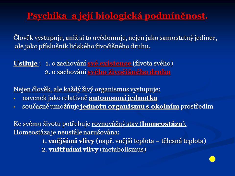 Psychika a její biologická podmíněnost. Člověk vystupuje, aniž si to uvědomuje, nejen jako samostatný jedinec, ale jako příslušník lidského živočišnéh