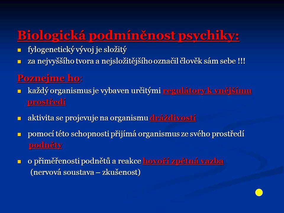 Biologická podmíněnost psychiky: fylogenetický vývoj je složitý fylogenetický vývoj je složitý za nejvyššího tvora a nejsložitějšího označil člověk sá