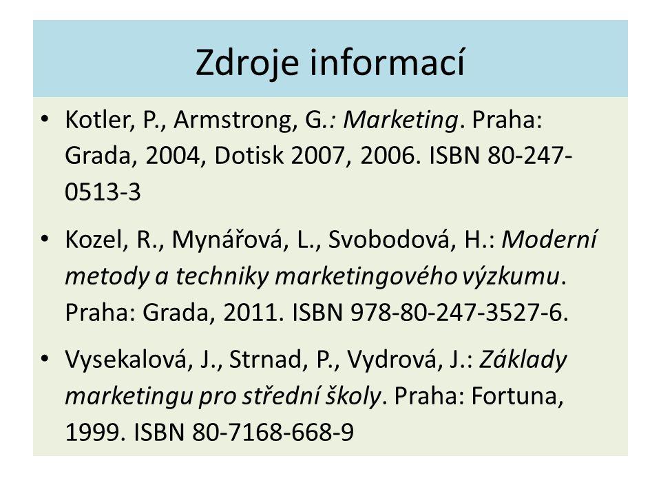 Zdroje informací Kotler, P., Armstrong, G.: Marketing.