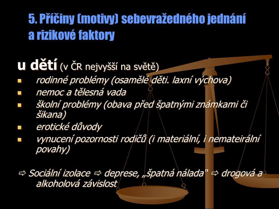 5. Příčiny (motivy) sebevražedného jednání a rizikové faktory u dětí (v ČR nejvyšší na světě) rodinné problémy (osamělé děti. laxní výchova) rodinné p