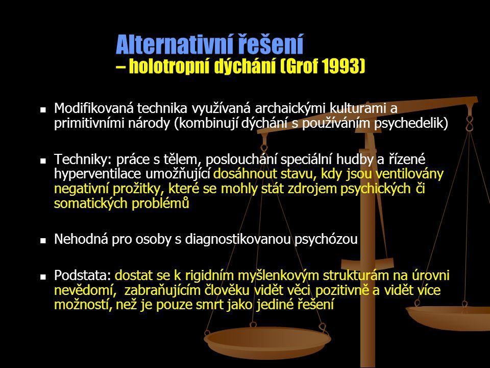 Alternativní řešení – holotropní dýchání (Grof 1993) Modifikovaná technika využívaná archaickými kulturami a primitivními národy (kombinují dýchání s